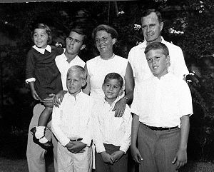 "George H.W. Bush and Barbara Bush with their six children: George W. Bush, Pauline Robinson Bush, John Ellis ""Jeb"" Bush, Neil Mallon Bush, Marvin Bush, and ""Dorothy Walker Bush Koch""."