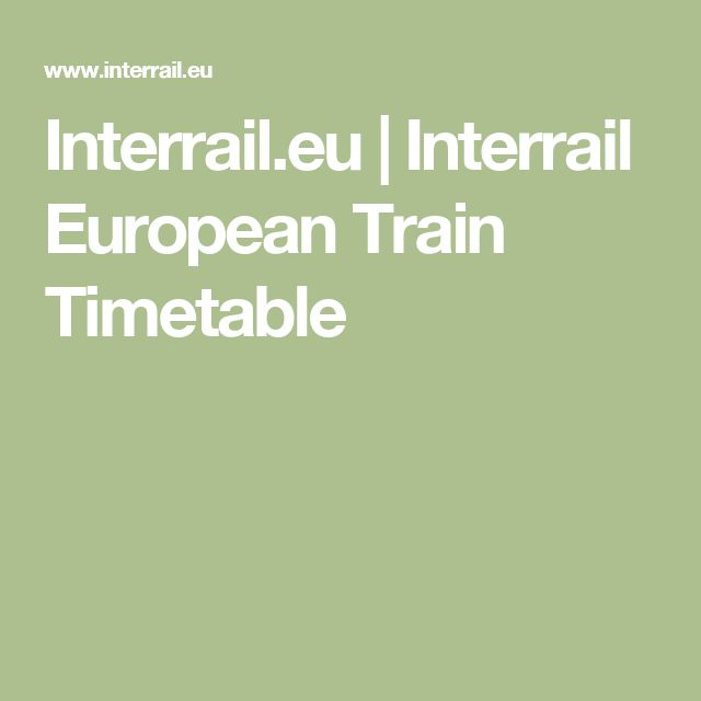 Interrail.eu | Interrail European Train Timetable