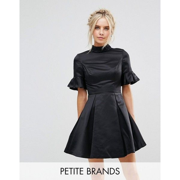 Chi Chi London Petite High Neck Mini Dress with 3/4 Sleeve and Frill... (€83) via Polyvore featuring dresses, black, petite, night out dresses, holiday party dresses, short-sleeve dresses, going out dresses and short party dresses