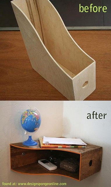 Stain or paint a plain old magazine holder, turn sideways and fasten to the corner of a wall for a quick and lovely little shelf. Love this idea!