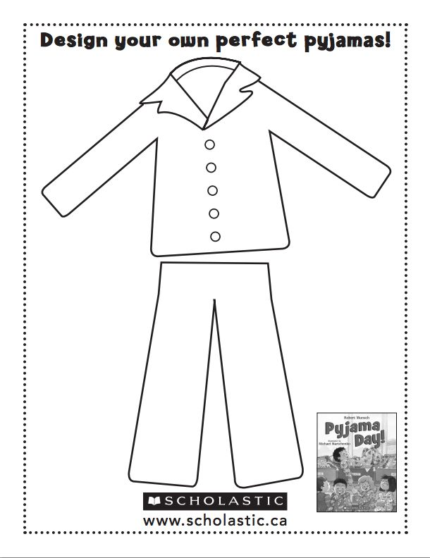 Pajama Coloring Page - Coloring Pages for Kids and for Adults