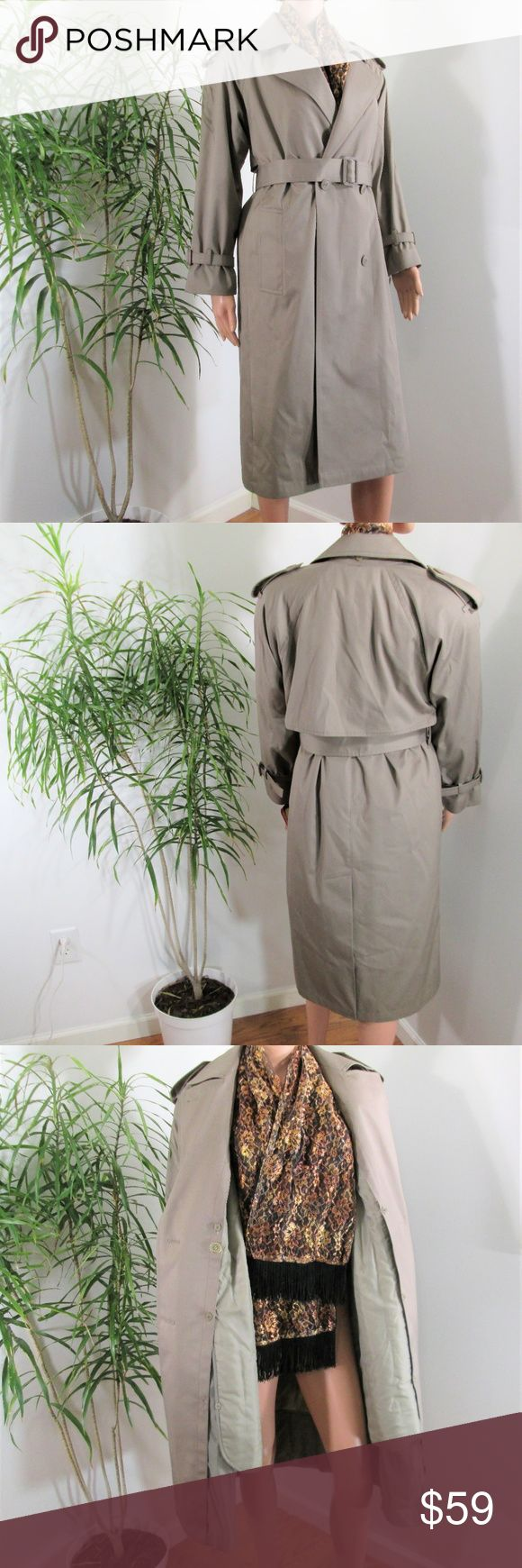 """New! Charles Klein* Classic Trench Coat Beautifully made trench with  button out insulated liner. Double breasted, belted, 2 slash pockets. Cotton blend- see tag pic.  Tagged 2P - runs big, color tag is Pewter.  Measured flat. 20"""" pit to pit. 42"""" long. liner is 34"""" long.  on 5' 9'' model. 33'' x 24'' x 33.5'' Charles Klein Jackets & Coats Trench Coats"""