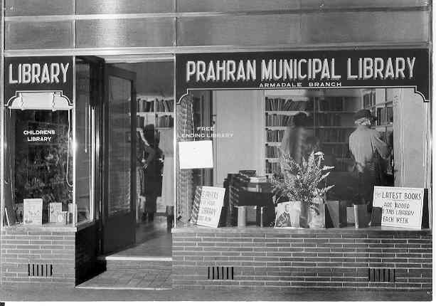 "Prahran Municipal Library, 1952. The first branch of the Prahran Municipal Library was opened in Armadale at 699 High Street, Armadale (near corner of High Street and Orrong Road), on the 1st October, 1951 during ""Library week""."
