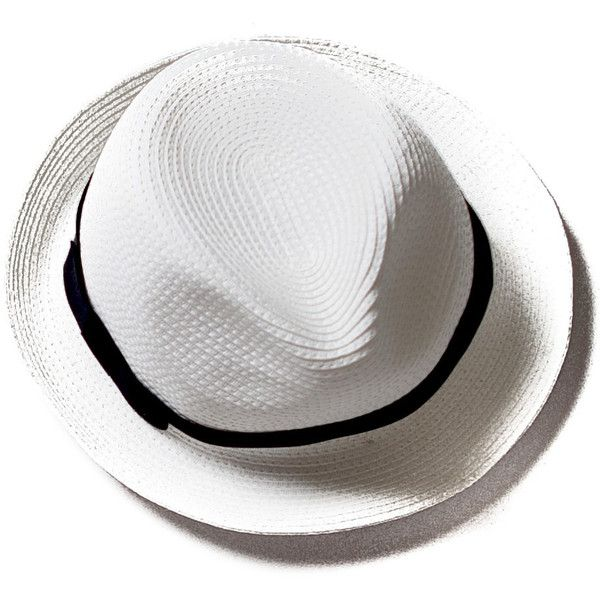 Beach Glam White Fedora Straw hat (2,665 INR) ❤ liked on Polyvore featuring accessories, hats, straw hat, beach fedora, beach hat, white hat and straw fedora hats