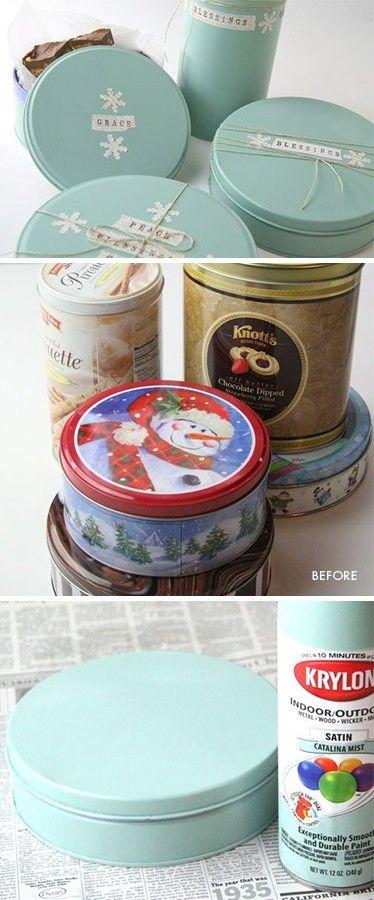 Excelente ideia de reciclagem: Painted Tins, Craft, Holiday Tins, Christmas Tins, Gift Ideas, Diy, Catalina Mist, Cookie Tins