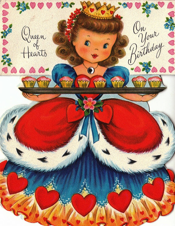 """vintage """"queen of hearts"""" card - so cute! Rubens Originals Pottery made a planter exactly like her !!"""