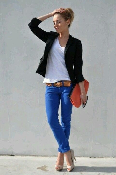 Bright blue jeans are interesting but not too far out of your usual denim comfort zone.