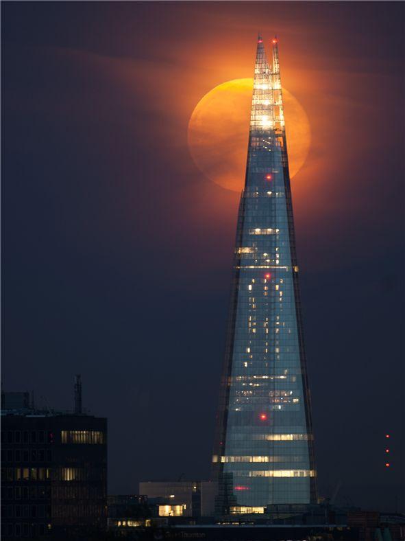 Full moon behind the Shard, London.