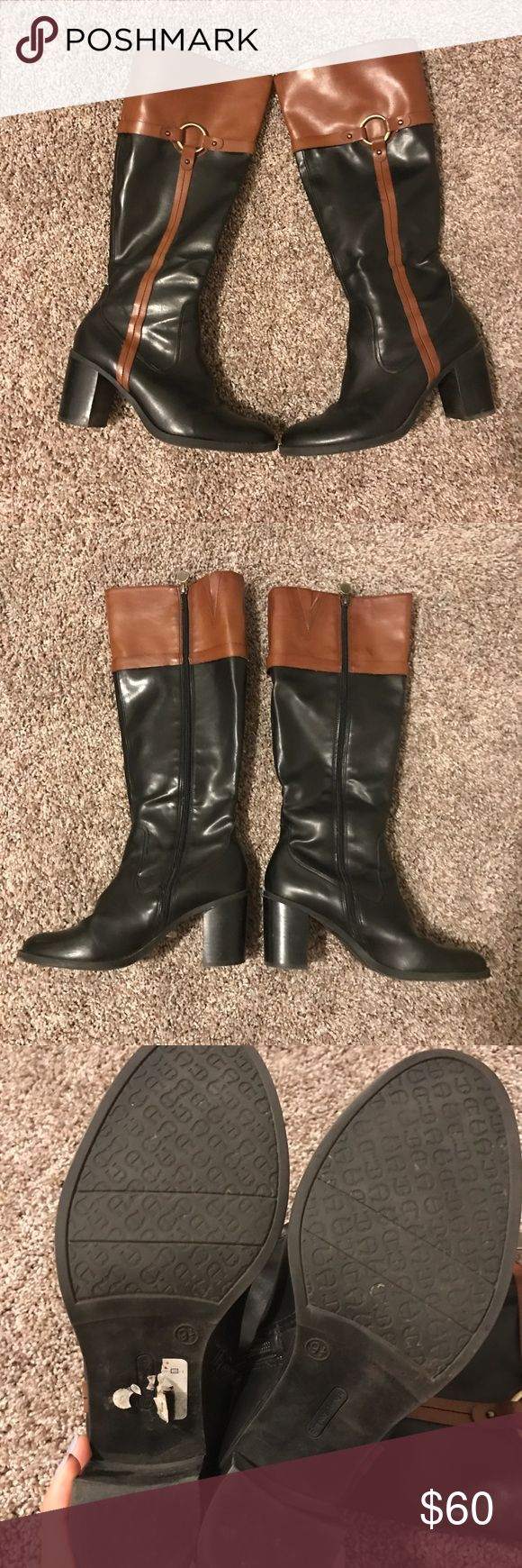Etienne Aigner Two-Tone Black Brown Heeled Boots Riding Boot style. Block heel. Women's size 9.5. Lightly worn. Etienne Aigner Shoes Heeled Boots