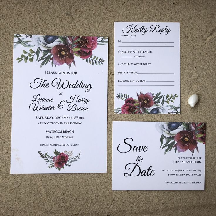 destination wedding invitation rsvp date%0A Our Ruby Helleborus Wedding Set is the perfect design for a boho rustic  beach