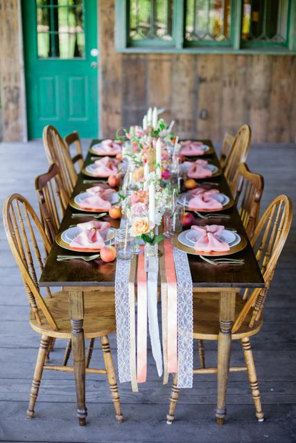 I love the ribbon table runner! NW Wedding Blog: A Cheerful Styled Shoot / Event Crush and Gabriela Ines Photography