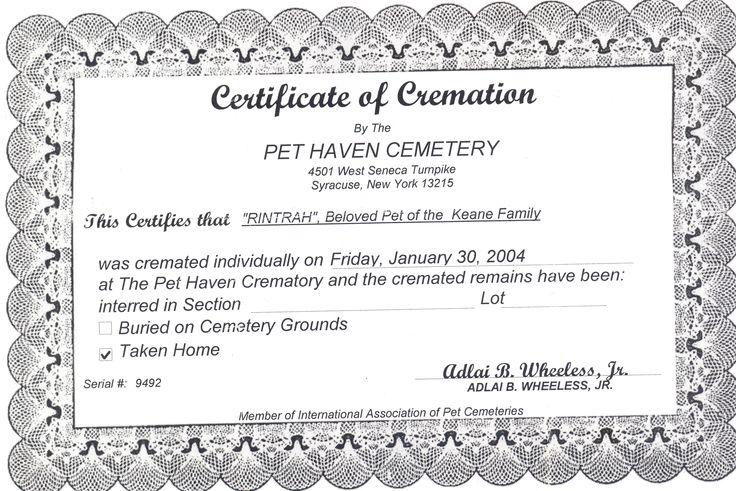 Pet Death Certificate Template – Death Certificate Template