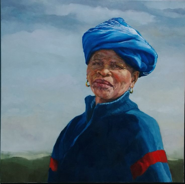 """Ukufunda"" Portrait of a Xhosa woman from Transkei.  Painted in oil by Vivien Budge from a photo by Melissa Budge.  #portrait #Xhosa #oilpainting #Transkei"