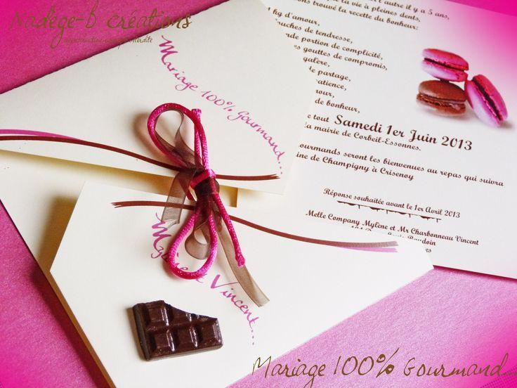 faire part croquer th me chocolat et gourmandise wedding. Black Bedroom Furniture Sets. Home Design Ideas