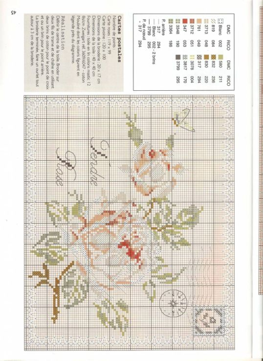 ROSES ENVELOPES cross stitch chart.  Gallery.ru / Фото #2 - Роза - DELERJE