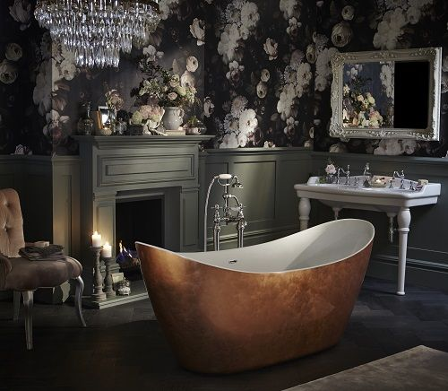 Heritage Bathrooms Statement Bayswater Mirror in Ivory with Metallic Free standing Copper Effect Bath and floral wallpaper