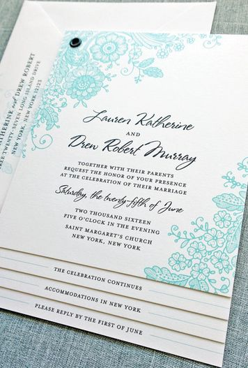 lace inspired wedding invitation by Cricket Printing