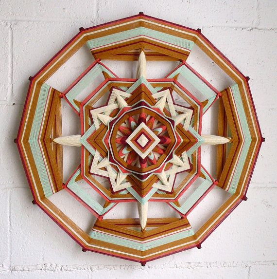 Golden Sage, an 24 inch, 12 sided, Ojo de Dios mandala, by Jay Mohler, in stock and ready to ship. $190.00, via Etsy.
