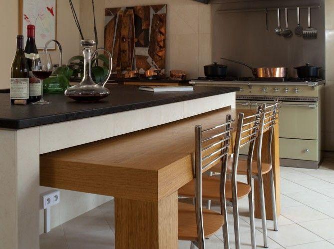 Table Cuisine Escamotable Tiroir Ilots Central Cuisine Table Cuisine Cuisine Moderne