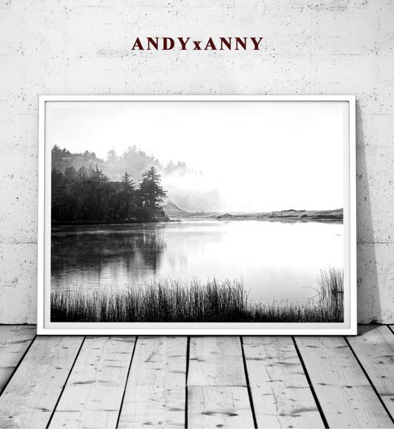 Black and white landscape print minimalist landscape landscape art forest fog digital poster black and white decor black white poster