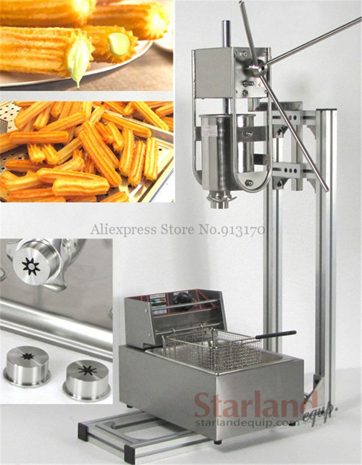 Manual Spanish Churros Making Machine Capacity 3L Commercial Deluxe Stainless Steel 3L Churro Maker with 6L Electric Fryer
