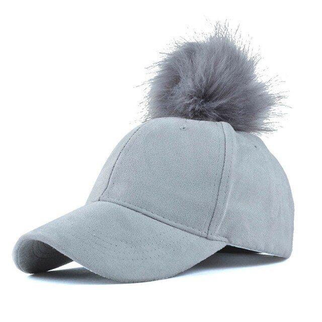 New Faux Fur Ball Pom Suede Hat Adjustable Baseball Cap Black Grey Pink