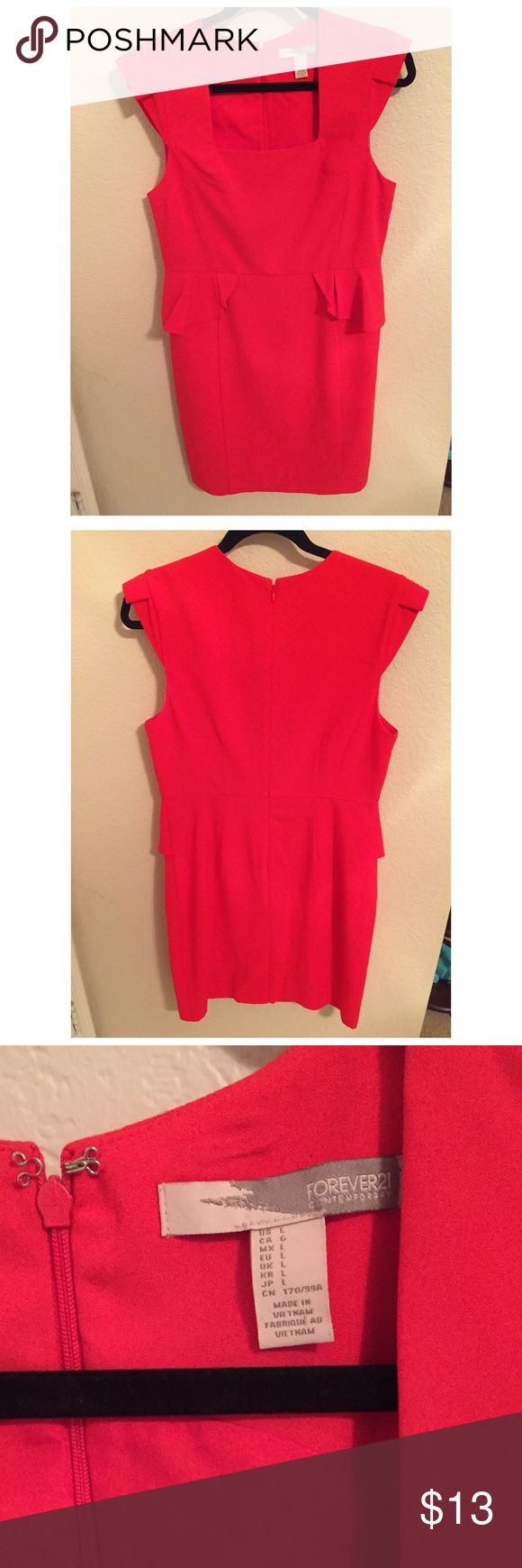 Red Peplum Dress in Size L Red Peplum Dress in size L. Brand New. Never been worn. Purchased wrong size online. Satin lining. Perfect condition. Beautiful dress for a professional & polished look. Forever 21 Dresses