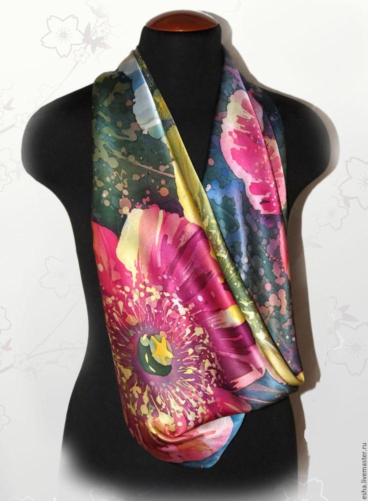 """Купить Шелковый платок батик """"Маки"""", ручная роспись - Батик, шелк, шелк натуральный, цветы"""