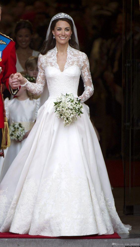 Discount Kate Middleton Modest Wedding Dresses A Line Satin Lace Applique V Neck Long Sleeves ...
