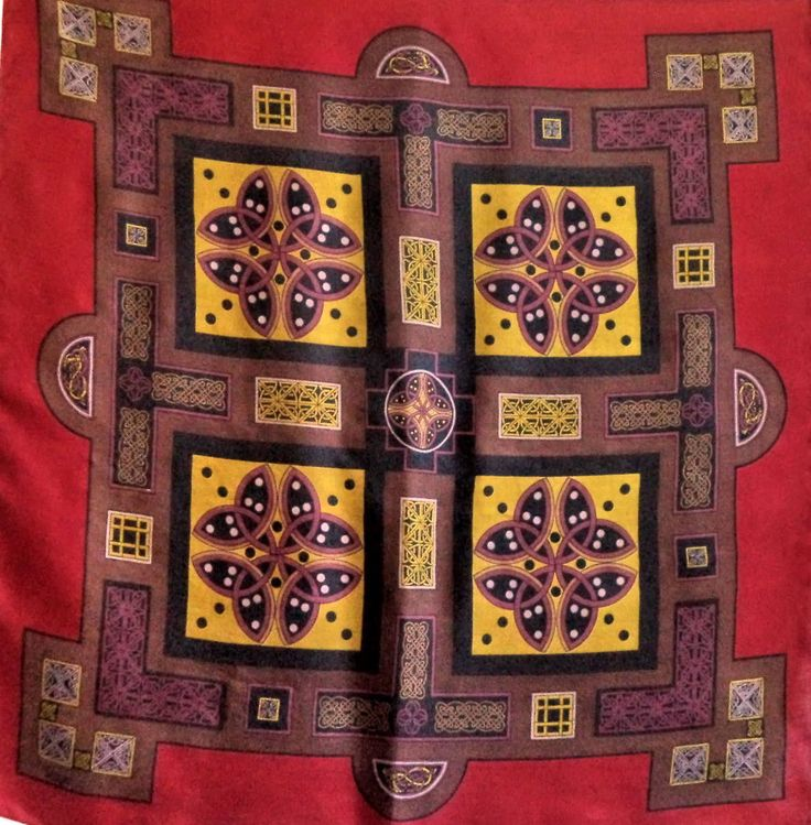 Rare Liberty of London Celtic Knots Silk Scarf Red Wine Border Gold Silver Folk Art Nouveau Square Head Neck Large Gift Square Prop Costume by MushkaVintage3 on Etsy