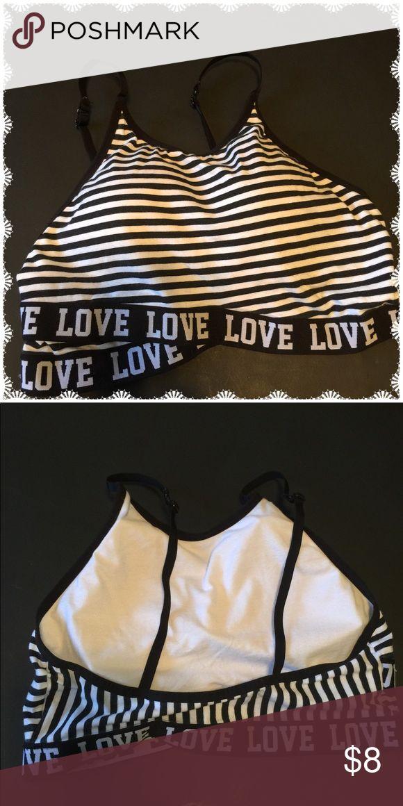 "No Boundaries Sports Bra Black & white ""Love"" striped sports bra by No Boundaries . No Boundaries Intimates & Sleepwear Bras"