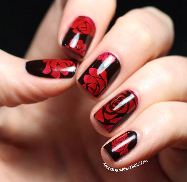 Best 25 rose nail art ideas on pinterest nail art rose rose amateur manicure a nail art blog painting the roses red prinsesfo Choice Image