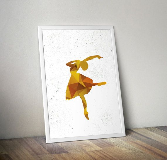 Ballerina in yellow hued polygons on white background- decorative digital printable wall art - ready to frame  #ballerina #dancer #wallart #homedecor #downloadable #printableart #polygonart