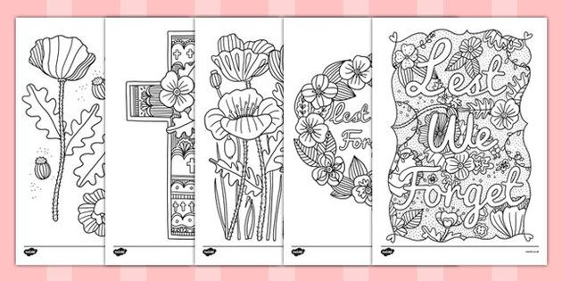 Remembrance Day Themed Mindfulness Colouring Sheets