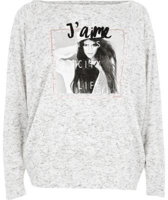 River Island Womens Grey 'J'aime' photo print batwing top