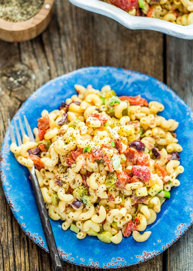 Macaroni Salad with Prosciutto - a simple macaroni salad with crispy prosciutto, lots of pickles, roasted red peppers and olives. Perfect for picnics or summer barbecues.