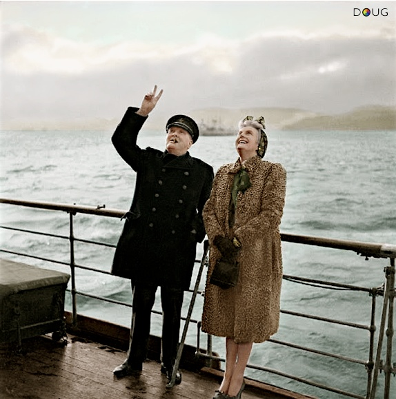 Winston and Clementine Churchill acknowledging Canadian Troops aboard the RMS Queen Mary, off the coast of Gourock in Scotland, having just returned from the Quebec War Conference.  25th September 1943