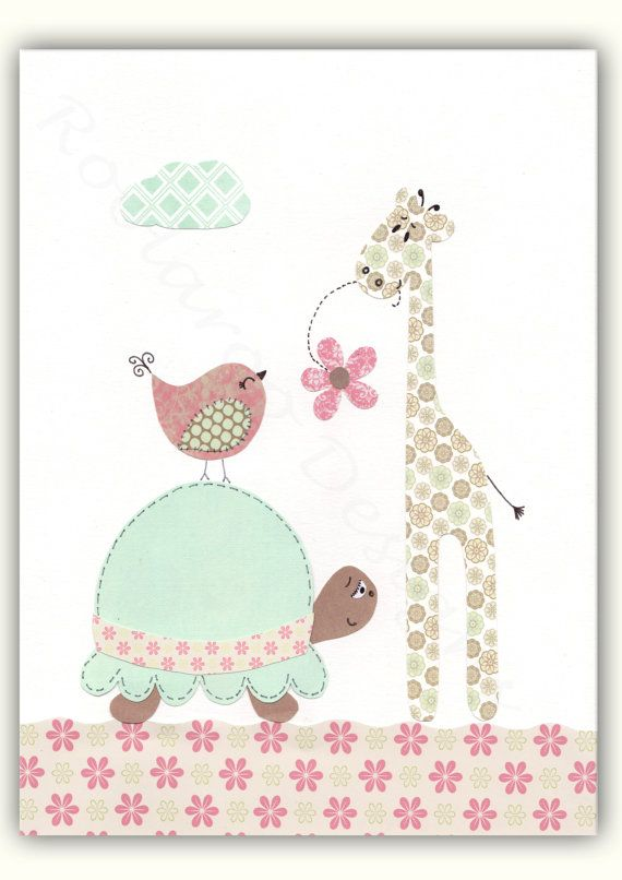 Baby Girl Nursery Art Nursery Elephant Decor Wall by SnoodleBugs