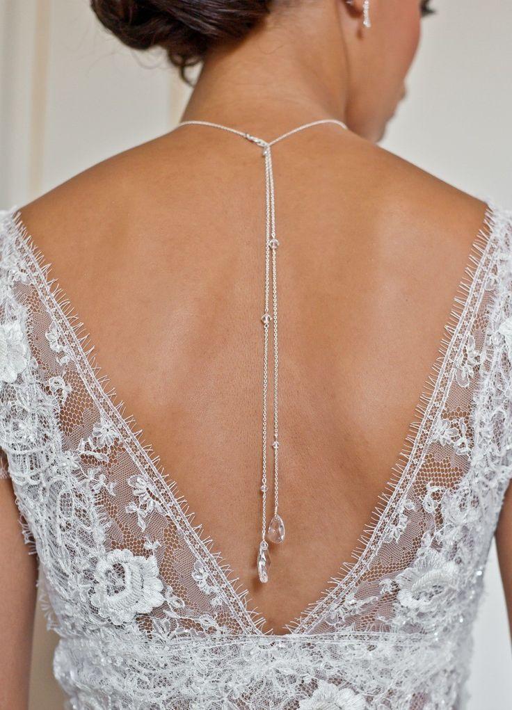 """Louna"" Collier de mariée avec long bijou robe dos nu - So Hélo"
