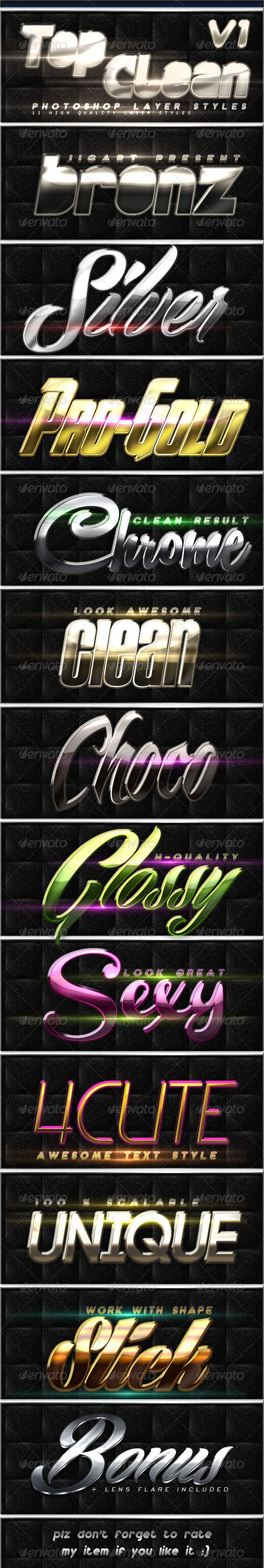 Top Clean Layer Styles V1  #GraphicRiver         -11 Photoshop Styles Includes are : 1 PSD file – 1 ASL file – readme  	 -all Font Used is Free / Link included in help file     Created: 2May13 Add-onFilesIncluded: LayeredPSD #PhotoshopASL MinimumAdobeCSVersion: CS Tags: asl #bronz #chrome #clean #clear #cute #design #effet #fine #fx #glossy #gold #iron #jigart #metal #photoshop #psd #sexy #silver #soft