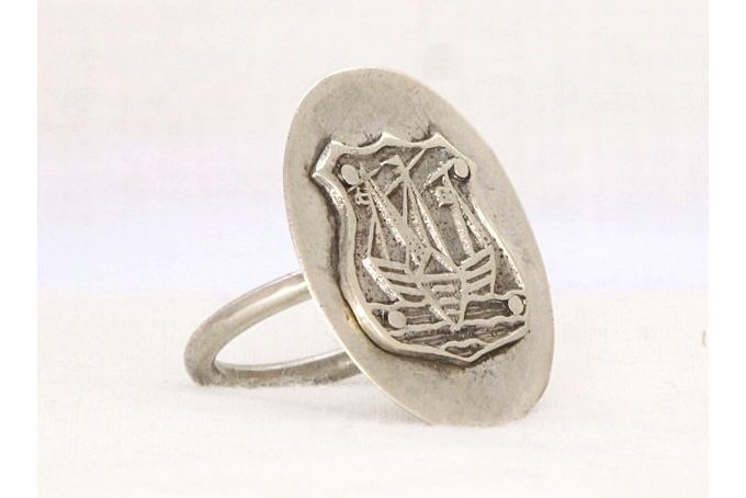 Spoon Ring - circa 1924 Silver Spoon Ring: Sail Away Nautical Crested Ring - Handmade recycled antique silver ring by HelenSilverSmit by He...