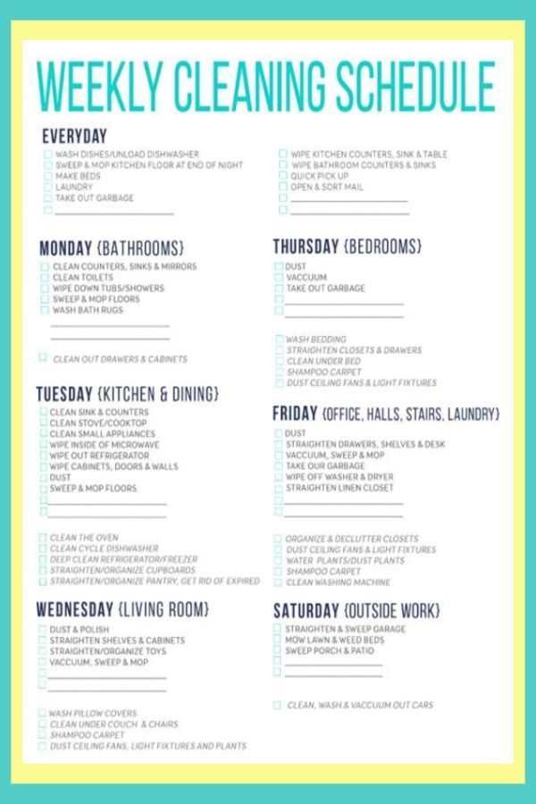 cleaning schedules checklists daily weekly monthly cleaning