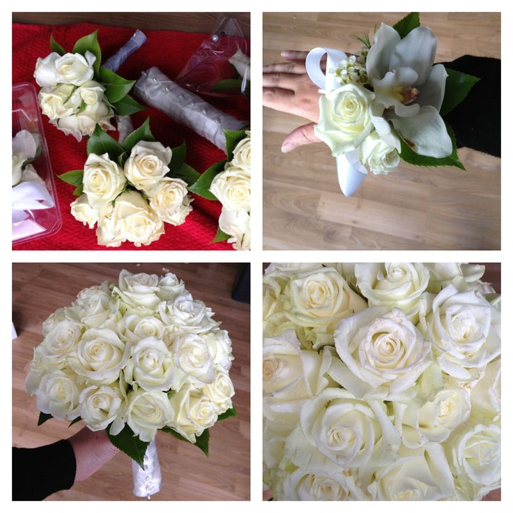 Gorgeous wedding bouquet, whites and ivories. White cymbidium orchid and rose corsage. Flowers by Bridal Perfection. Gorgeous Ross bouquet.