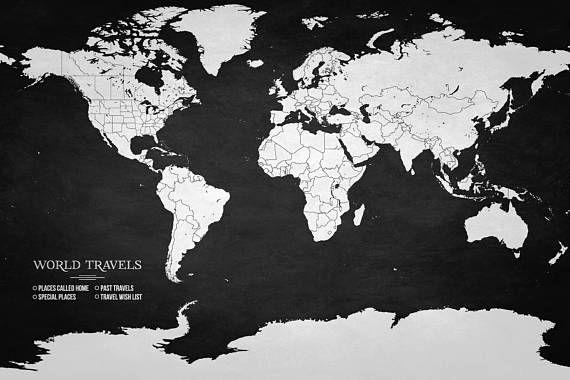 Canvas Pin Board Map Push Pin Map World Travel Map Canvas Map