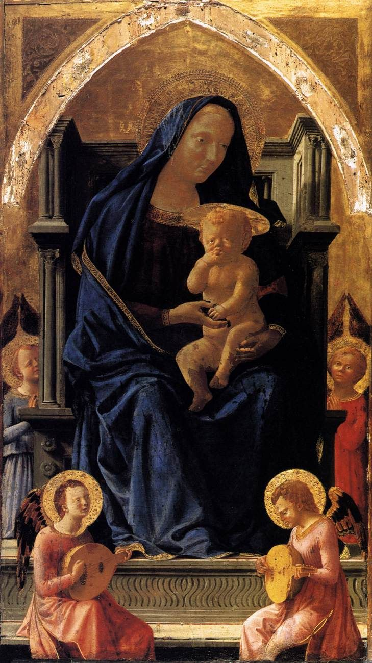 Masaccio   The Madonna and Child with Angels, 1426, egg tempera on poplar, 136 x 73 cm, National Gallery, London. The painting is the central panel of the Pisa Altarpiece.