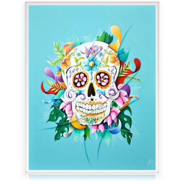 Colorful Painting Mexican Skull Calavera #colorfullpainting #oiloncanvas #artgallery #MomentumArtGallery
