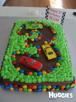 This is a chocolate cake with the theme of a race car track. You can incorporate your child's age into the cake as well!