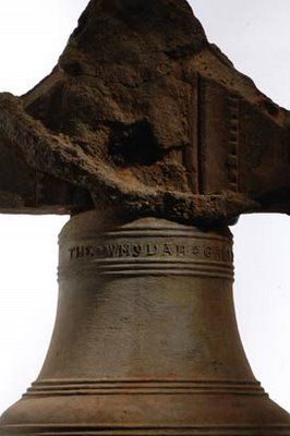 """Bell of the Pirate ship """"Whydah Gally"""" ruin which sank in 1717."""