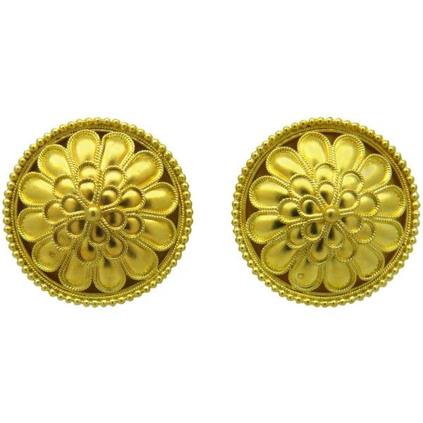 Pre-owned Ilias Lalaounis Gold Earrings featuring polyvore, fashion, jewelry, earrings, more earrings, preowned jewelry, pre owned jewelry, gold jewelry, 18k gold jewelry and 18k gold earrings