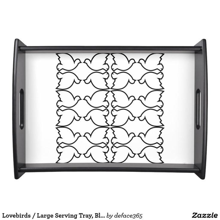 Lovebirds / Large Serving Tray, Black Serving Platter